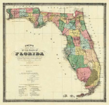 New Map of The State of Florida, 1870