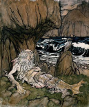 A Crowned Merman a Sea God Sleeping On a Rocky Shore