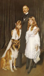 Portrait of a Family With Their Collie