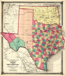 County Map of Texas, and Indian Territory, 1874