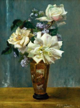 Still Life of Roses in an Oriental Vase