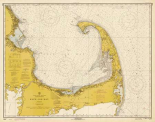 Nautical Chart - Cape Cod Bay ca. 1970 - Sepia Tinted