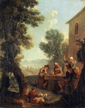 Peasants Drinking By a Farmhouse