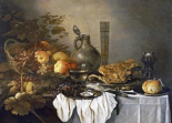 A Still Life With a Roemer, Oysters, a Roll and Meat