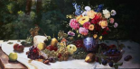 Vase of Flowers and Fruit on a Draped Table