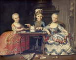 Boy In Blue Building a House of Cards, With Two Girls