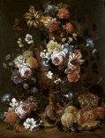 Roses, Carnations and Other Flower In An Urn