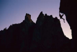 Climber silhouetted on Chain Reaction, Smith Rocks, Oregon