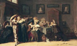 An Elegant Company Carousing In An Interior