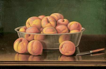 Still Life of Peaches In a Silver Bowl