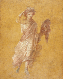 Fragment of a Yellow Fresco Panel with Muse