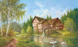 Mill With Swans
