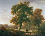 Travellers at a Crossroads In a Wooded Landscape
