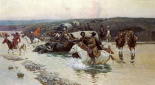 Tcherkess Convoy Crossing a River