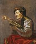 A Seated Lutanist Pointing