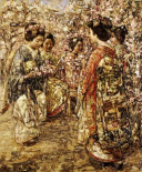 Five Japanese Girls Among Blossoming Trees