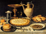 Still life with a tart- roast chicken- bread- rice and olives