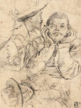 Four Studies of Heads Drawn over a Copy of Saint John the Evangelist by Correggio (recto); Three Stu