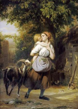 A Mother and Child With a Goat on a Path