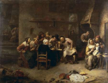 Peasants Drinking and Smoking In An Inn