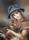 A Market Girl Holding a Mallard Duck