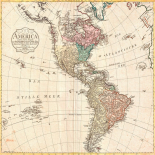 Map of North America and South America, 1796