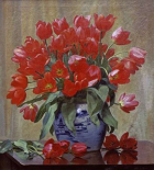 Tulips In a Porcelain Vase