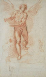 An Angel Holding a Book (recto); Three Studies of a Falling Male Figure (verso)