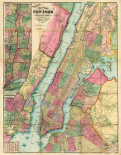 Map of New York and Adjacent Cities, 1874