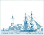 Sailing Ships in Blue I