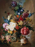 Poppies Peonies and other Flowers in a Terracotta Vase