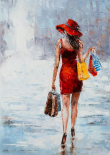 Shopping Girl in Red