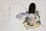 Ebisu Dancing With a Poem. Hanging Scroll