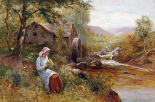 A Young Girl Picking Spring Flowers