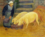 A Young Girl Feeding Two Pigs
