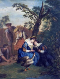 A Courting Couple Beneath a Tree