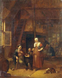 The Interior of An Inn With a Man Paying a Serving Woman