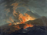 Vesuvius Erupting at Night