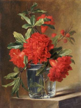 Red Carnations and a Sprig of Berries