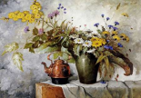 Cornflowers, Daisies and Other Flowers In a Vase