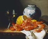 Shrimps, a Peeled Lemon, a Glass of Wine