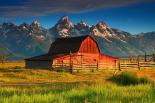 Barn and Grand Tetons, WY