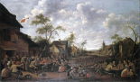 Peasants Feasting On a Village Street