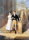 Portrait of a Lady and a Gentleman On The Steps of a Chateau