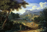 Italian River Landscape with Herdsman and Cattle