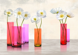 Poppies in crystal vases (Purple palette)