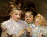 Berthe and Marjorie With Their Doll