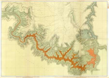 Grand Canyon - ComVintageite: Geologic map, S. pt. Kaibab Plateau. I-IV, 1882