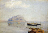 A Calm With Fishing Boats In The Bay of Naples