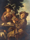 Two Peasant Boys Playing Cards